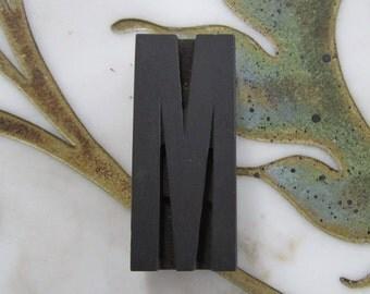 Letter M Antique Letterpress Wood Type Printers Block