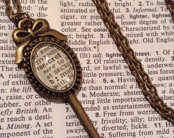 Secret Necklace  / Dictionary Jewelry / Key Necklace / Bookish Jewelry / Gift for Her / Book Lover Gift / Dictionary Necklace