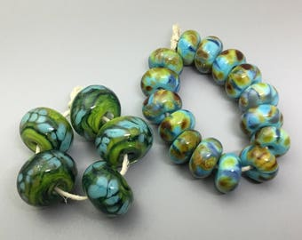 Lampwork Bead Set Green and Turquoise