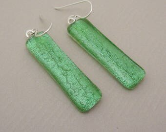 Handcrafted original design Pale green dichroic glass earrings translucent long dangle sterling silver ear wires