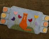 Orange Cat, Spring Flowers, Coffee Coaster, Mug Rug
