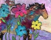 "Original 8""x 10"" Horse Flowers Painting by Caren Goodrich"