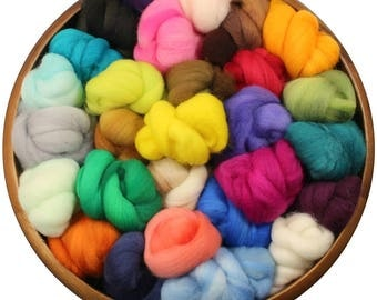 Tidbits-- a rainbow of hand-dyed merino wool roving bits for spinners and felters (4 oz.)
