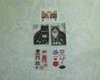 Dollhouse Miniature Set of Four Cat Paper Doll Sheets