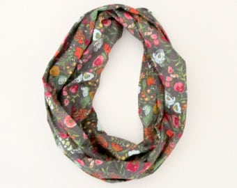 Infinity Scarf - Gray Pink Blue Green Red Flowers Floral - Cotton Fashion Tube Scarf