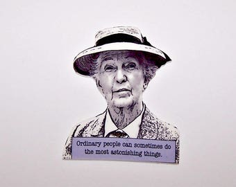 """Agatha Christie MISS MARPLE """"Ordinary people..."""" Mystery Quote Pin"""