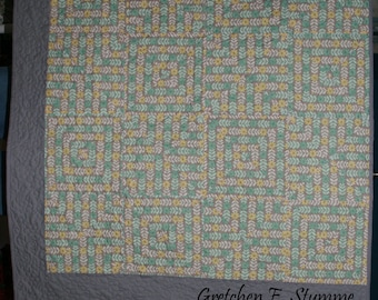 Floral Stripe Quilt - Aqua, Yellow & Grey