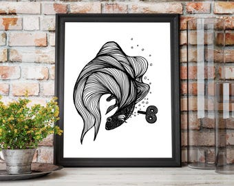 Overwound Toy Steampunk Fish Original Ink Drawing - Art Print