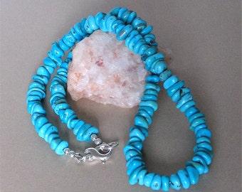 "Sleeping Beauty Turquoise Necklace - Turquoise Chip Necklace - Classic Arizona Turquoise  - 19 1/2"" Necklace Southwestern Style"