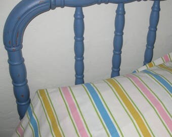 Vintage Flat Sheet, Full Size Sheet, Double Bed, Pacific, Polyester Cotton, Retro Bed Linens Fabric Bedding, Pink White Blue Gold Stripes