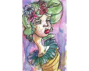Original Watercolor Illustration -flower wrap Art by Ela Steel - green, purple, yellow strange lowbrow art
