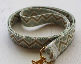 Chevron lanyard - gold lanyard - mint lanyard - key holder - ID badge lanyard - key fob - cute lanyard - gold chevron fabric - lanyards