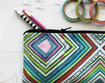 Cute pencil bag - planner bag - BUJO accessories - pen pouch - pencil zip pouch - colorful - abstract - planner pouch - school bag - pouch
