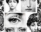 Clip Art instantané Télécharger Digital Collage feuille Fornasetti Lina Cavalieri Portrait imprimable bijoux Cabochon pendentif Art impression numérique