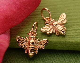 One Rose gold honey bee bumblebee charm. DIY jewelry, add to your necklace or charm bracelet.