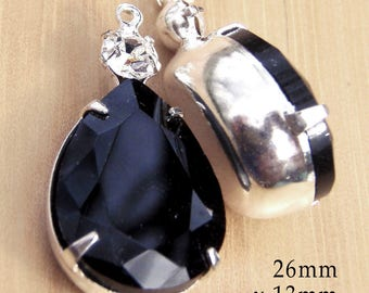 Black Glass Beads - Framed Glass Pendant or Earring Jewels - Pear or Teardrop - 26mm x 13mm - Rhinestones - Jewelry Supplies - One Pair