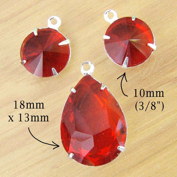 red framed glass pendant and round earring jewels - buy the glass bead set and save