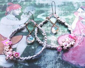 Pink Flower Hoops, Earrings, Blush Pink, Large Hoops,  Boho Earrings, Dangle Earrings, Rustic, Pretty