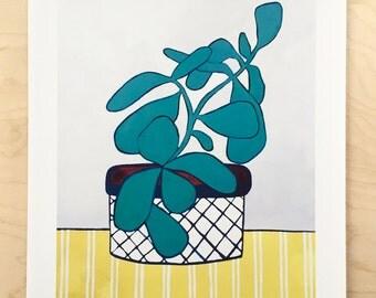 NEW // Jade on Gray Houseplant Print // Modern Decor // Garden Lovers // Plant Paintings // Modern Houseplant // Modern Print