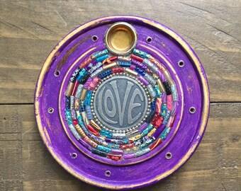 Vintage Love Glass Mosaic Incense Burner