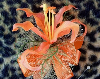 Vintage 1970s Corsage Boutonnière Tiger Lily Flower Brooch Millinery 201738