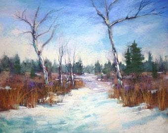 Winter Landscape with Snow Original Pastel Painting  Karen Margulis