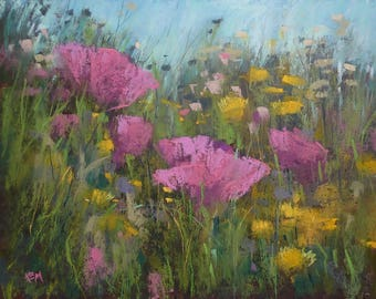 Intimate Wildflowers Spring Pink Poppies Original Pastel Painting Karen Margulis