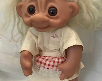 "Troll Doll Original Thomas Dam Troll Waitress Oufit  10"" Tall Circa 1977 Denmark doll"