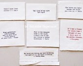 Textile patches,  art patches, 7 pieces, quotations, handmade, supplies, sewing, fabric collage