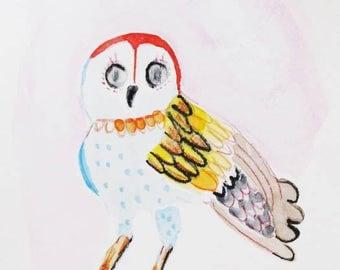 Original painting, watercolor and pencil, owls, birds, nature