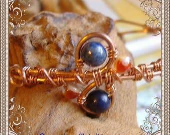 Lapis Bracelet, Handmade Copper Jewelry, Handmade Copper Bracelet, Wire Wrapped Jewelry, Copper Jewelry, Lapis Cuff Bracelet