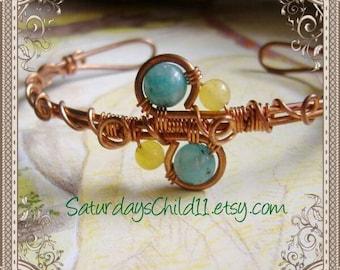 Blue Jasper Bracelet, Handmade Copper Jewelry, Handmade Copper Bracelet, Wire Wrapped Jewelry, Copper Jewelry, Kiwi Jasper Cuff Bracelet