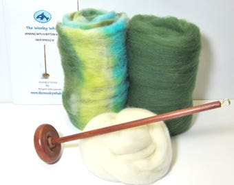 Drop Spindle Yarn Spinning Kit Erin Available in Both Top or Bottom Whorl, Free Shipping in US