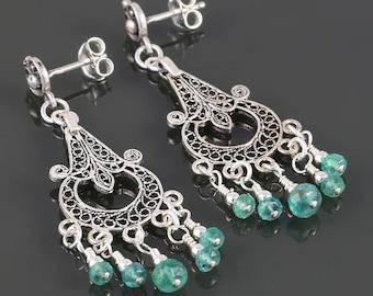 Genuine Emerald Chandelier Earrings. Sterling Silver. Turkish Filigree. May Birthstone. s17e055