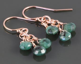 Emerald Cluster Earrings. 3 Stones. Rose Gold Filled Ear Wires. Genuine Emeralds. May Birthstone. s17e059