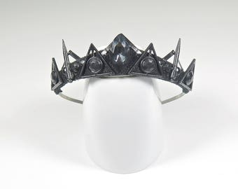 Smokey Gem and Filigree Black Tiara - by Loschy Designs