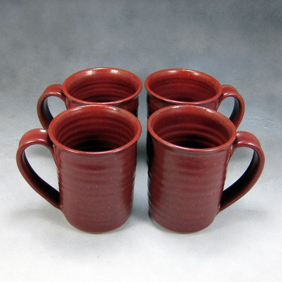 4 Coffee Mug Red Rust 16 Ounce Ceramic Mug Set Or Coffee Cup