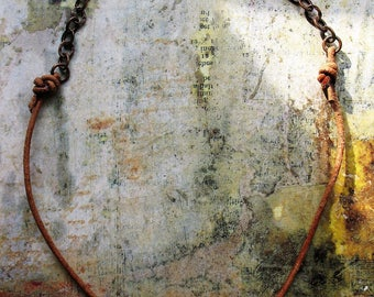 Antiqued Copper Chain and Natural Leather Necklace - 18 inches