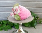 Lavender Sachet, Beaded Pink Velvet Strawberry, Romantic Home Decor