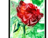 Wax encaustic painting, red rose with greenery, home decor, small work of art, matted