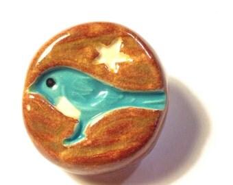 Blue Bird Handmade Ceramic Knob