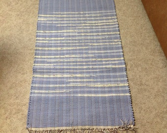 Pretty Baby Blue with yellow Rag Rug 51 inches long by 28 inches wide upcycle recycle flannel bedsheets