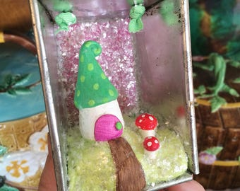 Spring Fairy Mushroom House Diorama Ornament in Vintage Baking Tin