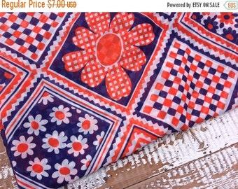 SALE- Retro Floral Fabric--Navy and Orange-Semi Sheer