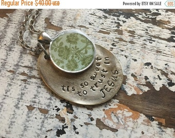 40% OFF- Spoon Necklace-Stamped Jewelry-Tis So Sweet To Trust In Jesus