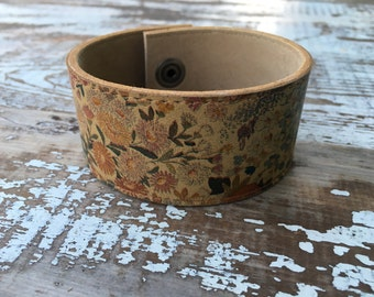 Custom Leather Cuff-Create Your Own--Word Cuff-Floral