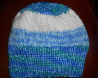 hand knit knitted Malabrigo hand dyed super soft merino wool hat watchcap beanie unisex one size large blue green white