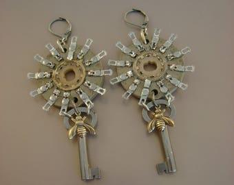 Radio Buzz  - Vintage Starburst Radio Parts Vintage Keys Brass Bees Recycled Repurposed Jewelry Statement Earrings