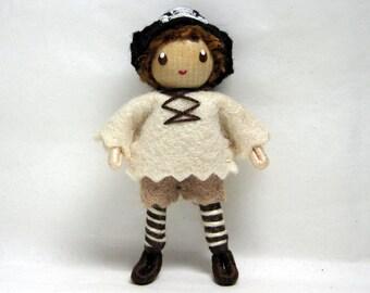 Pirate Bendy Doll by Princess Nimble-Thimble - Waldorf Felt Bendable- Adventure- Nature Table Dollhouse- Miniature Small Pirate Doll