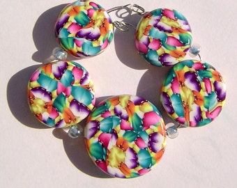 Spring Garden Feathers Artisan Polymer Clay Bead Set with Focal and 4 Beads